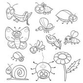 Coloring book with insects — Stock Vector