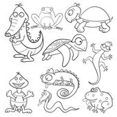 Coloring book with reptiles and amphibians — Stock Vector