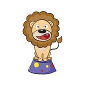 Circus lion on a pedestal — Stock Vector