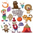 Circus doodle icon set — Stock Vector