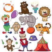Circus doodle icon set — Stock Vector