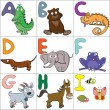 Alphabet with cartoon animals 1 — Stock Vector