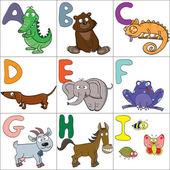 Alphabet with cartoon animals 1 — Stock Vector
