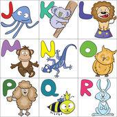 Alphabet with cartoon animals 2 — Stock Vector
