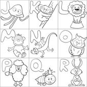 Coloring book with alphabet 2 — Stock Vector