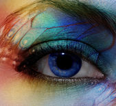 Eye make-up with bright saturetad colors - macro shot — Stock Photo