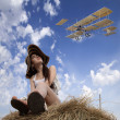 The girl and the plane — Stock Photo