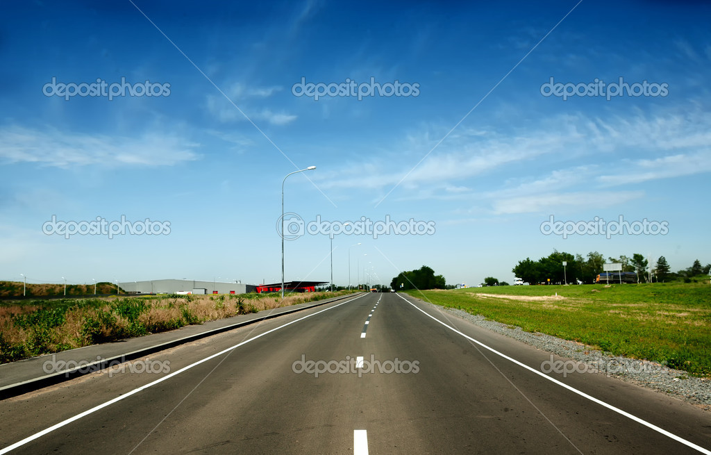 Curve road and blue sky — Stock Photo #11481285