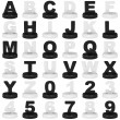 Alphabet and numbers - Stock Photo