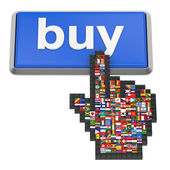 Buy button and hand cursor with flags of the world. — Foto de Stock
