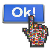 Ok! button and hand cursor with flags of the world. — Stock Photo