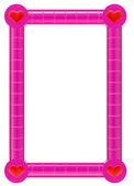 粉色相框用的心 — 图库照片