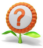 Flower question mark icon — Stock Photo
