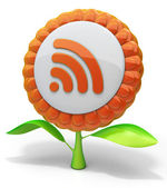 Flower RSS icon — Stock Photo