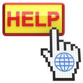Pomoc przycisk i ręcznie kursora z ikoną kuli ziemskiej. — Zdjęcie stockowe