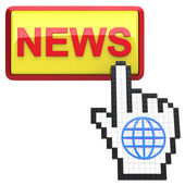 News button and hand cursor with icon of the globe. — Stock Photo