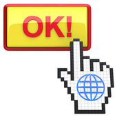 Ok! button and hand cursor with icon of the globe. — Stock Photo