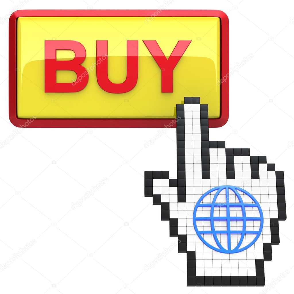 Buy button and hand cursor with icon of the globe isolated on white background.   Stock Photo #11344714