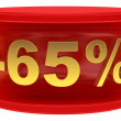 Sale sticker -65% — Stock Photo