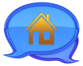 Speech bubbles with house icon — Stok fotoğraf