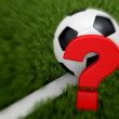 Soccer ball on the white line with a question mark. — Stock Photo