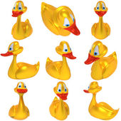 Yellow toy duck set — Stock Photo