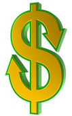 Dollar sign with arrows. — Stock Photo