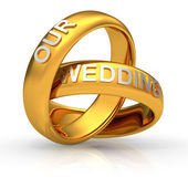 "Two golden wedding rings with text ""Our Wedding"" — Stock Photo"