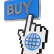 Buy button and hand cursor with icon of the globe. — Stock Photo