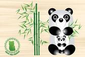 Panda bear illustration with logo — Stock Vector