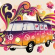Retro van - flower power — Stok Vektör