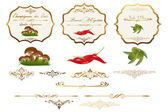 Hand drawn food related vintage labels — Stock Vector