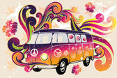 Retro van - flower power — Stock Vector