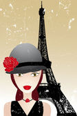 Vintage poster with beautiful girl in paris — Stock Vector