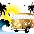 Retro van on the beach — Stock Vector