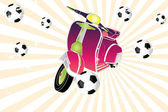 Scooter retro colorido jugando al fútbol — Vector de stock