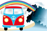 Retro van under the rainbow on the beach — Stock Vector