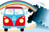 Retro van under the rainbow on the beach — Stock Vector