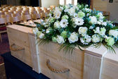 Coffin in crematory — Foto Stock