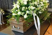 Coffin in morgue — Stock Photo