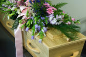 Coffin in morgue — Stock Photo