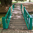Stock Photo: Green wooden bridge