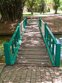 Green wooden bridge — Stock Photo