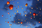 Multi-colored lanterns in the sky — Stock Photo