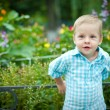 The child at a flower bed — Stock Photo