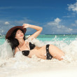 Happy woman rest on the beach — Stock Photo