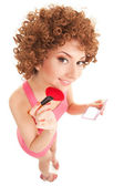 Fun woman with brush for makeup on the white background — Stock Photo