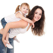 Happy mother and daughter playing on the white background — Stock Photo