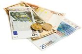 Dollars euro turkish lira and czech money — Stock Photo