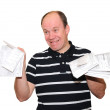 A man with receipts — Stock Photo
